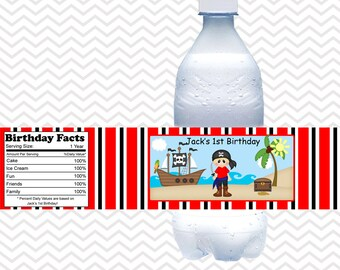 Pirate Boy  - Personalized water bottle labels - Set of 5  Waterproof labels