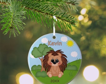 Porcupine Ornament - Personalized Porcupine Ornament, Porcupine Ornament, Kids Ornament, Christmas Tree Ornament