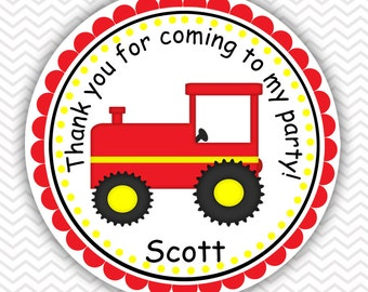 Red Tractor - Personalized Stickers, Party Favor Tags, Thank You Tags, Gift Tags, Address labels, Birthday, Baby Shower