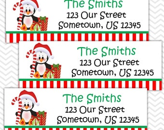 Christmas Penguin Candy Cane - Personalized Address labels, Stickers