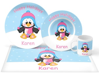 Penguin Girl Plate Set - Personalized Kids Plate, Bowl, Mug & Placemat - Penguin Plate Set - Kids Plastic Tableware - Microwave Safe