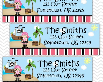 Pirate Girl - Personalized Address labels, Stickers