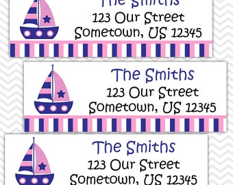 Nautical Sail Boat Blue and Pink  - Personalized Address labels, Stickers, Baby Shower, Birthday