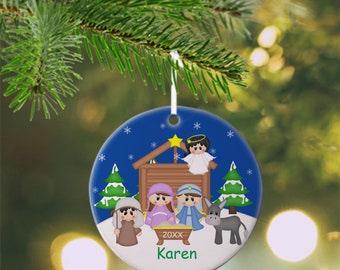 Christmas Nativity Ornament - Personalized Nativity Ornament, Nativity Ornament, Kids Ornament, Christmas Tree Ornament