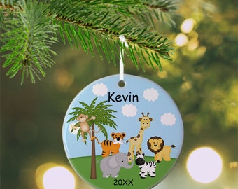 Jungle Ornament - Personalized Jungle Ornament, Jungle Ornament, Kids Ornament, Christmas Tree Ornament