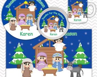 Christmas Nativity Plate, Bowl Mug Set - Personalized Nativity Plate Set - Customized Plate, Bowl, Mug - Melamine Plate, Bowl & Set for Kids