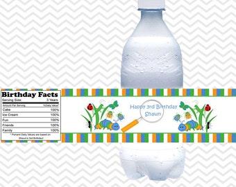 Bugs - Personalized water bottle labels - Set of 5  Waterproof labels