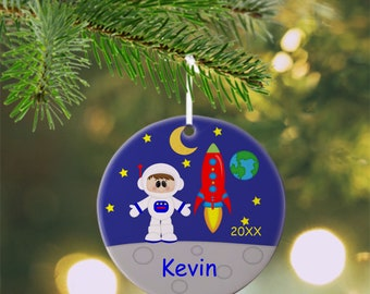 Astronaut Boy Ornament - Personalized Astronaut Ornament, Space Ornament, Kids Ornament, Christmas Tree Ornament