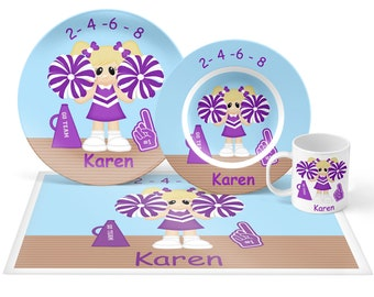 Cheer Plate Set - Personalized Kids Plate, Bowl, Mug & Placemat - Cheer Plate Set - Kids Plastic Tableware - Microwave Safe