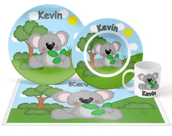 Koala Plate Set - Personalized Kids Plate, Bowl, Mug & Placemat - Koala Plate Set - Kids Plastic Tableware - Microwave Safe