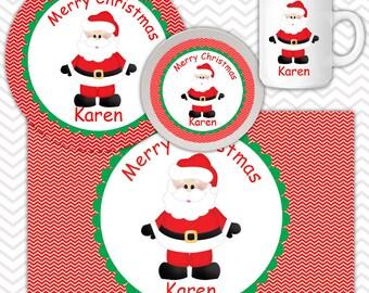 Christmas Santa Plate Bowl Mug Set - Personalized Santa Plate Set - Customized Plate, Bowl, Mug - Melamine Plate, Bowl & Set for Kids