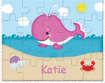 Whale Pink Personalized Puzzle, Personalized Whale Puzzle, Personalized Kids Puzzle