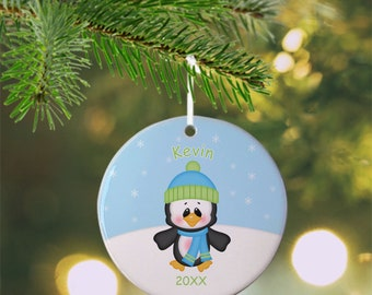 Christmas Penguin Boy Ornament - Personalized Penguin Ornament, Penguin Ornament, Kids Ornament, Christmas Tree Ornament