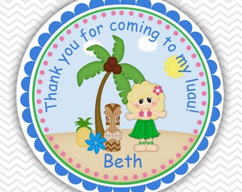 Luau Girl - Personalized Stickers, Party Favor Tags, Thank You Tags, Gift Tags, Address labels, Birthday, Baby Shower