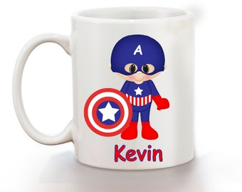 Captain America Superhero Personalized Kids Mug, Personalized Polymer Mug, Personalized Ceramic Mug, Custom Personalized Kids Mug