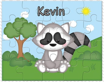 Raccoon Personalized Puzzle, Personalized Raccoon Puzzle, Personalized Kids Puzzle