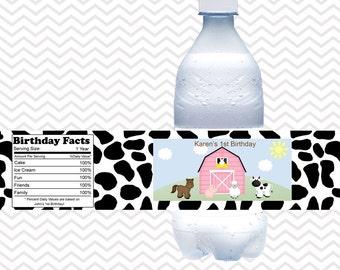 Barn Yard Farm Animals Pink - Personalized water bottle labels - Set of 5  Waterproof labels