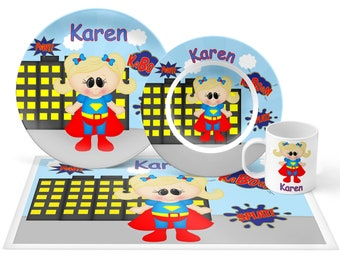 Supergirl Plate Set - Personalized Kids Plate, Bowl, Mug & Placemat - Super Hero Plate Set - Kids Plastic Tableware - Microwave Safe