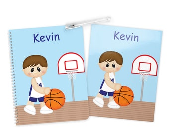 Basketball Boy Folder Notebook Set - Personalized School Folder - Personalized Notebook - Folder with Name - Back to School