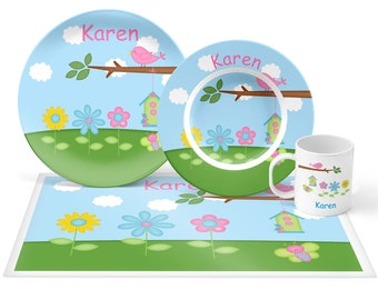 Flowers Plate Set - Personalized Kids Plate, Bowl, Mug & Placemat - Flowers Plate Set - Kids Plastic Tableware - Microwave Safe