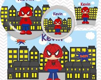 Spiderman Plate, Bowl, Cup, Placemat - Personalized Super Hero Dinnerware for Kids - Custom Tableware