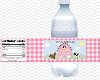 Barn Yard Farm Animals Pink Gingham- Personalized water bottle labels - Set of 5  Waterproof labels