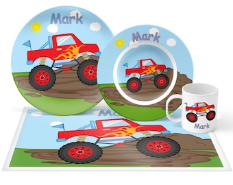 Monster Truck  Plate Set - Personalized Kids Plate, Bowl, Mug & Placemat - Monster Truck Plate Set - Kids Plastic Tableware - Microwave Safe