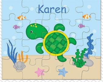 Turtle Personalized Puzzle, Personalized Turtle Puzzle, Personalized Kids Puzzle