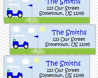 Golf Cart Blue - Personalized Address labels, Stickers