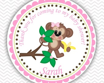 Pink Monkey - Personalized Stickers Baby Shower Birthday , Party Favor Tags, Thank You Tags, Gift Tags, Address labels, Baby Shower