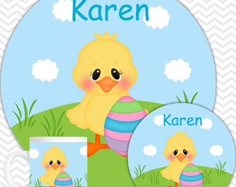 Easter Chick Plate & Bowl Set - Personalized Easter Plate Set - Customized Plate and Bowl - Melamine Plate and Bowl Set for Kids