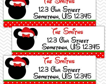 Christmas Minnie - Personalized Address labels, Stickers