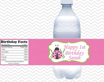 LadyBug Pink and Green  - Personalized water bottle labels - Set of 5  Waterproof labels