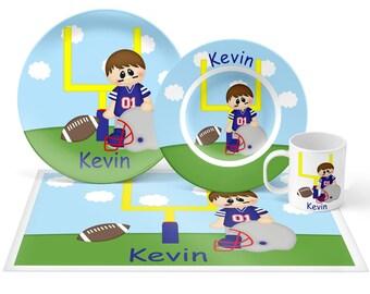 Football Boy Plate Set - Personalized Kids Plate, Bowl, Mug & Placemat - Sports Plate Set - Kids Plastic Tableware - Microwave Safe