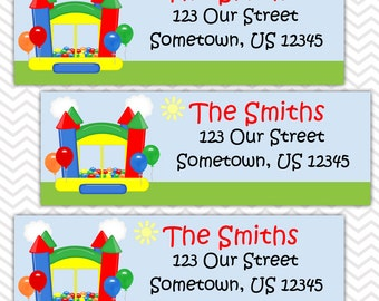 Bounce House Primary Boy - Personalized Address labels, Stickers