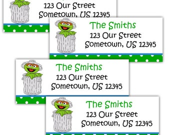 Oscar the Grouch Sesame Street- Personalized Address labels, Stickers
