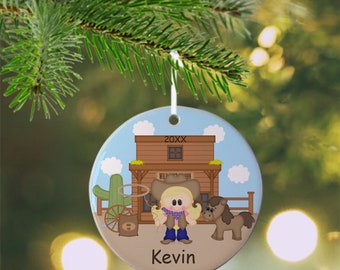 Cowgirl Ornament - Personalized Cowgirl Ornament, Western Ornament, Kids Ornament, Christmas Tree Ornament
