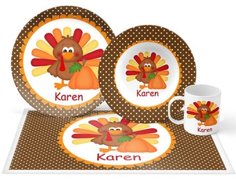 Thanksgiving Turkey Plate Set - Personalized Kids Plate, Bowl, Mug & Placemat - Turkey Plate Set - Kids Plastic Tableware - Microwave Safe