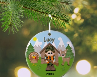 Hunting Girl Ornament - Personalized Hunting Ornament, Hunting Ornament, Kids Ornament, Christmas Tree Ornament