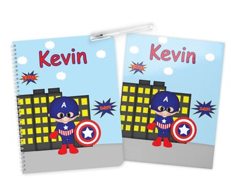 Captain America Super Hero Folder Notebook Set - Personalized School Folder - Personalized Notebook - Folder with Name - Back to School