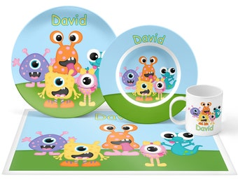 Monsters Plate Set - Personalized Kids Plate, Bowl, Mug & Placemat - Monsters Plate Set - Kids Plastic Tableware - Microwave Safe