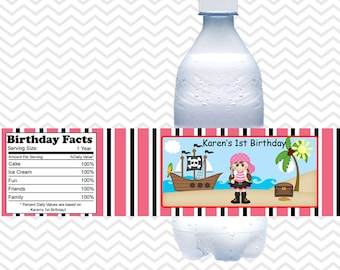 Pirate Girl  - Personalized water bottle labels - Set of 5  Waterproof labels