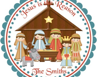Christmas Manger -  Personalized Stickers, Party Favor Tags, Thank You Tags, Gift Tags, Address labels, Birthday, Baby Shower