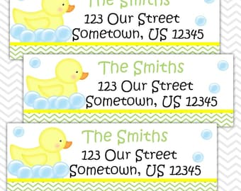 Rubber Duck Green - Personalized Address labels, Stickers, Baby Shower