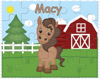 Horse Personalized Puzzle, Personalized Farm Puzzle, Personalized Kids Puzzle