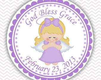Kneeling Angel Girl Purple Baptism Christening First Holy Communion - Personalized Stickers, Party Favor Tags, Thank You Tags, Gift Tags