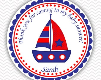Nautical Blue Red - Personalized Stickers Baby Shower Birthday , Party Favor Tags, Thank You Tags, Gift Tags, Address labels, Baby Shower