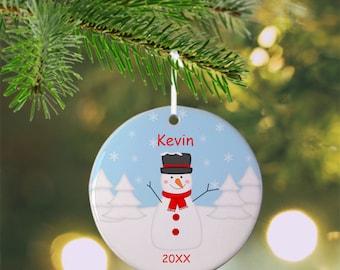 Snowman Ornament - Personalized Snowman Ornament, Snowman Ornament, Kids Ornament, Christmas Tree Ornament