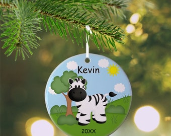 Zebra Ornament - Personalized Zebra Ornament, Zebra Ornament, Kids Ornament, Christmas Tree Ornament