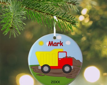 Dump Truck Ornament - Personalized Dump Truck Ornament, Construction Ornament, Kids Ornament, Christmas Tree Ornament